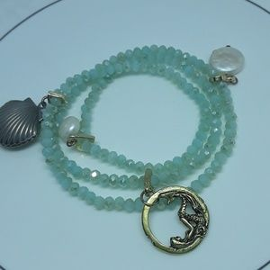 Seafoam Mermaid & Shell Locket Stretch Bracelet